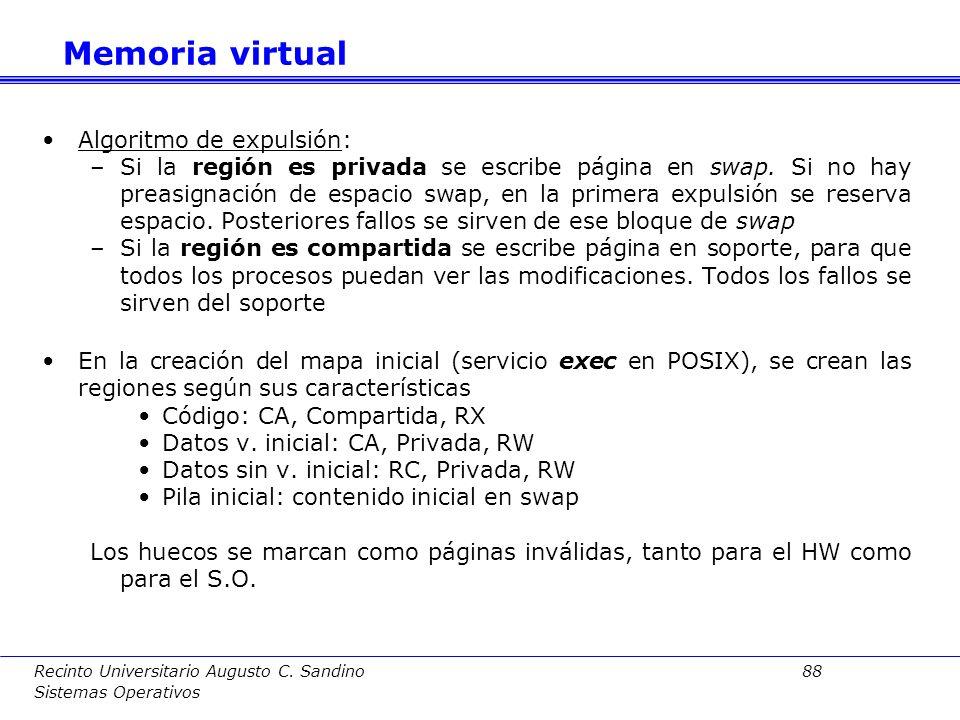 Memoria virtual Algoritmo de expulsión: