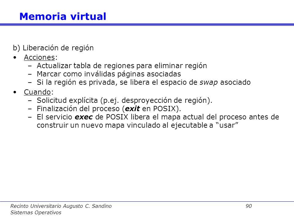 Memoria virtual b) Liberación de región Acciones: