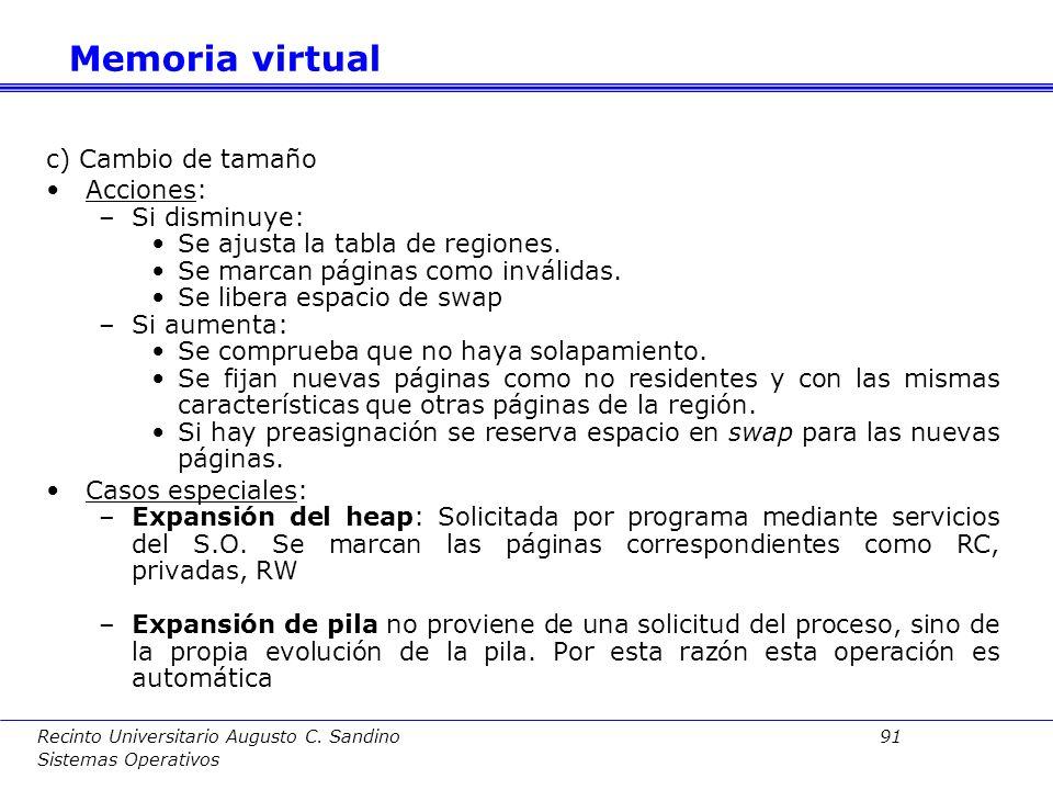 Memoria virtual c) Cambio de tamaño Acciones: Si disminuye: