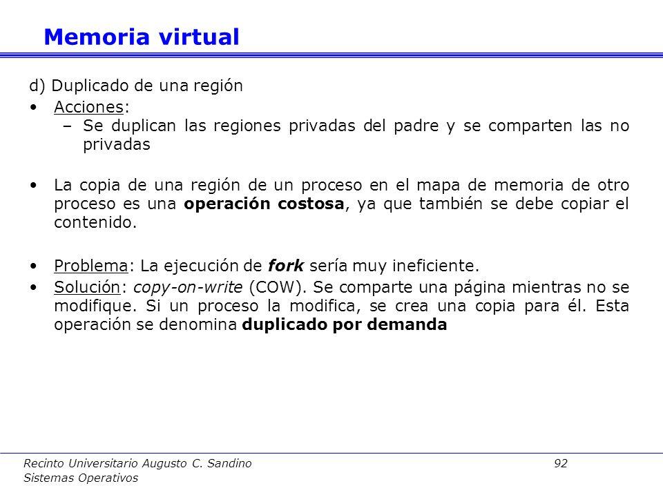 Memoria virtual d) Duplicado de una región Acciones:
