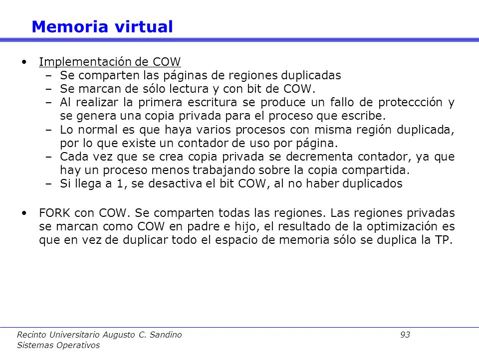 Memoria virtual Implementación de COW