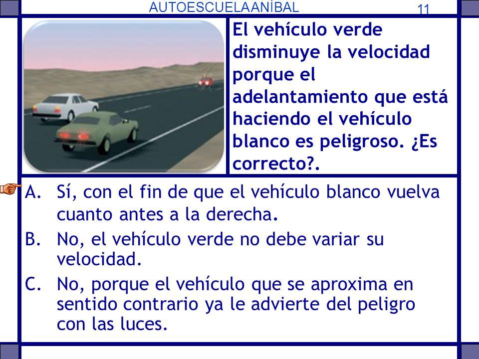 El vehículo verde disminuye la velocidad porque el adelantamiento que está haciendo el vehículo blanco es peligroso. ¿Es correcto .