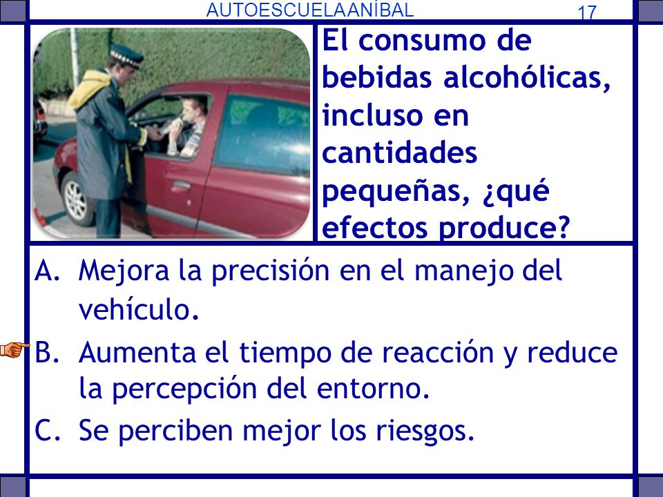 El consumo de bebidas alcohólicas, incluso en cantidades pequeñas, ¿qué efectos produce