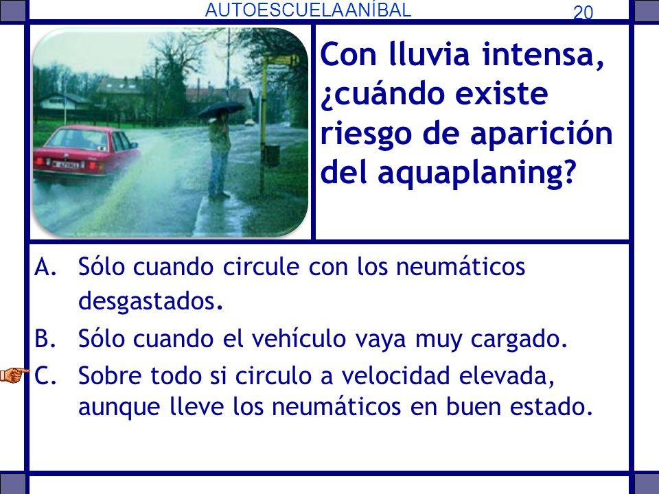 Con lluvia intensa, ¿cuándo existe riesgo de aparición del aquaplaning