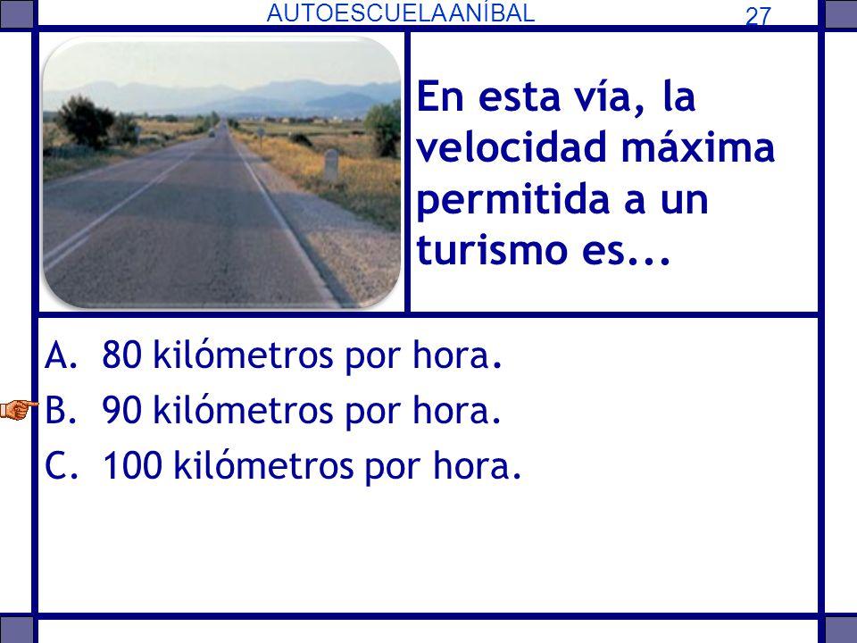 En esta vía, la velocidad máxima permitida a un turismo es...