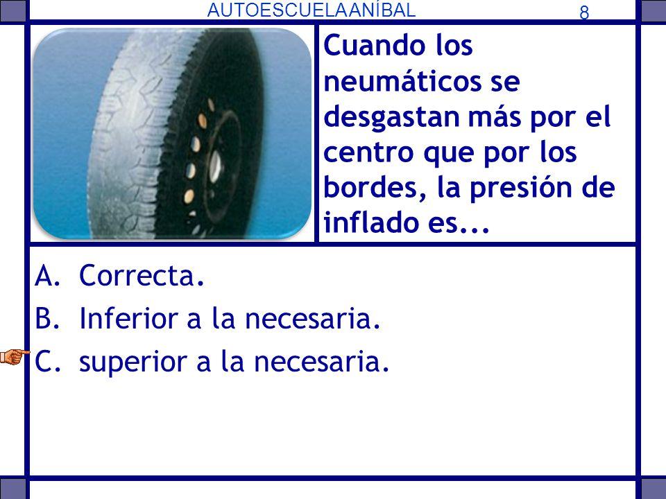 Cuando los neumáticos se desgastan más por el centro que por los bordes, la presión de inflado es...