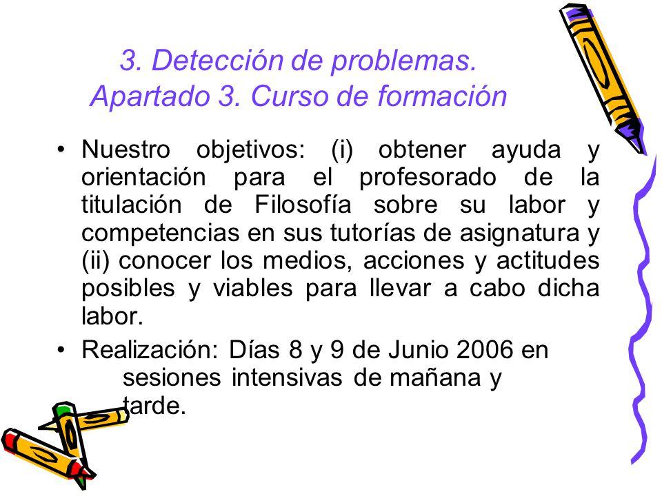 3. Detección de problemas. Apartado 3. Curso de formación