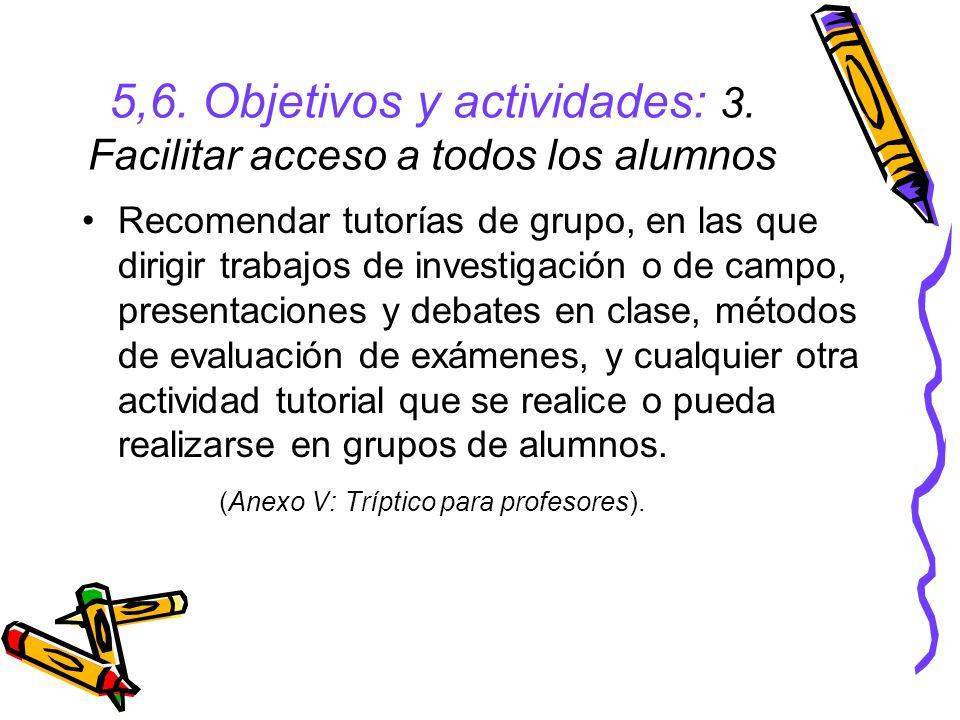 5,6. Objetivos y actividades: 3. Facilitar acceso a todos los alumnos