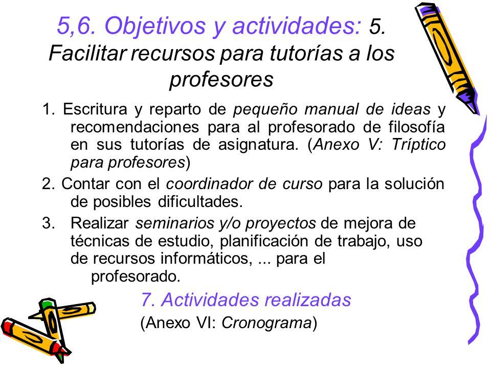 5,6. Objetivos y actividades: 5