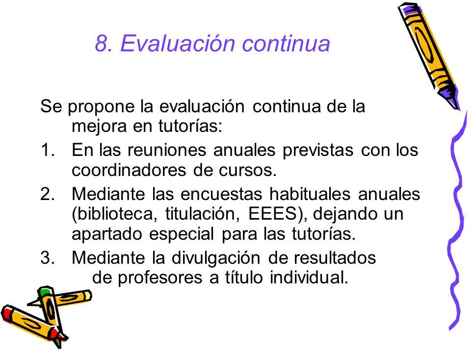 8. Evaluación continua Se propone la evaluación continua de la mejora en tutorías: