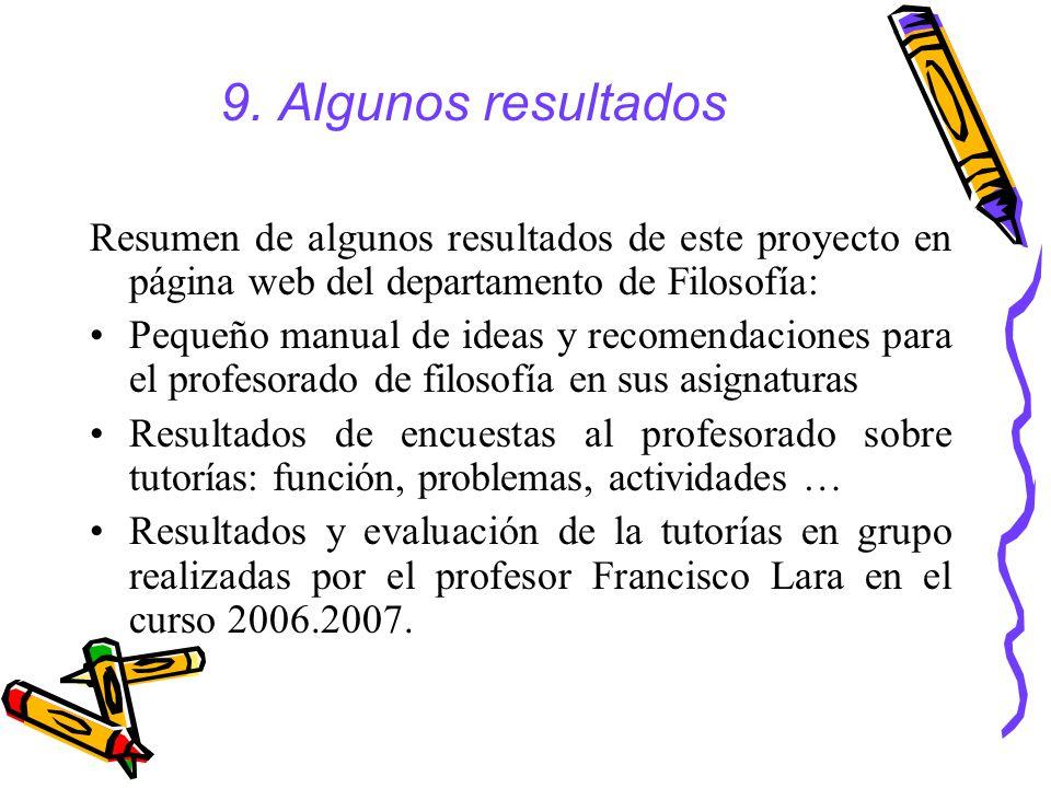 9. Algunos resultados Resumen de algunos resultados de este proyecto en página web del departamento de Filosofía: