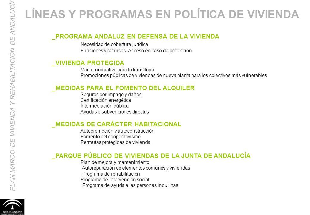 LÍNEAS Y PROGRAMAS EN POLÍTICA DE VIVIENDA