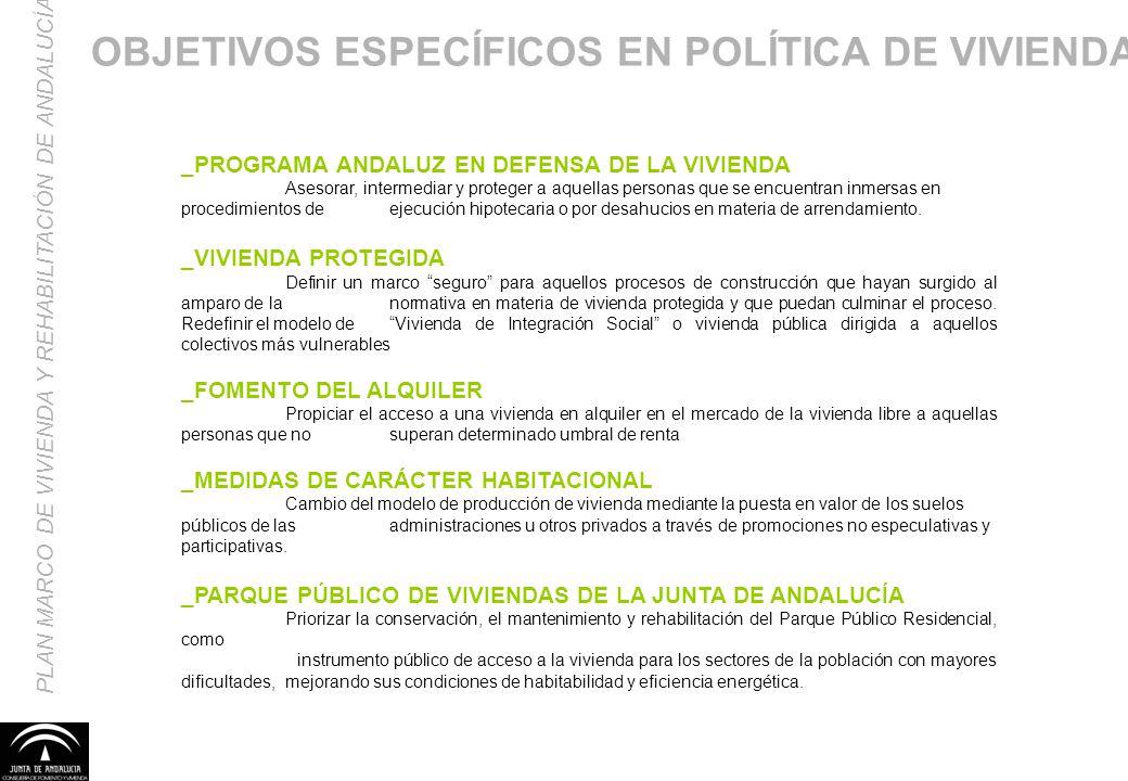 OBJETIVOS ESPECÍFICOS EN POLÍTICA DE VIVIENDA