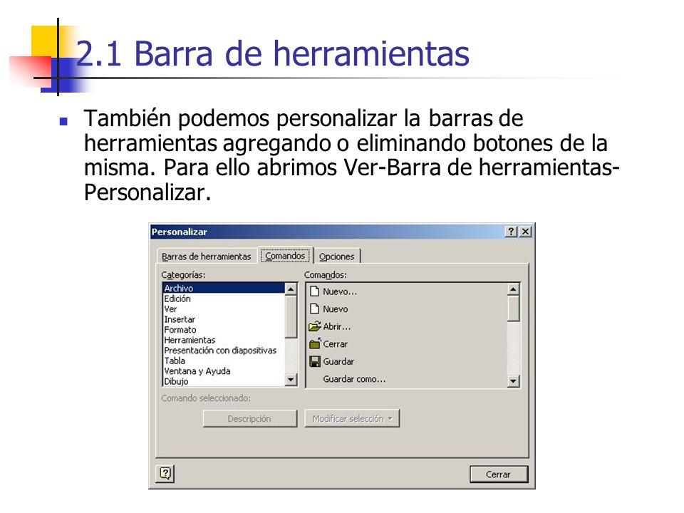 2.1 Barra de herramientas