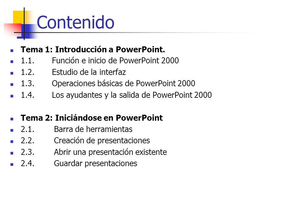 Contenido Tema 1: Introducción a PowerPoint.
