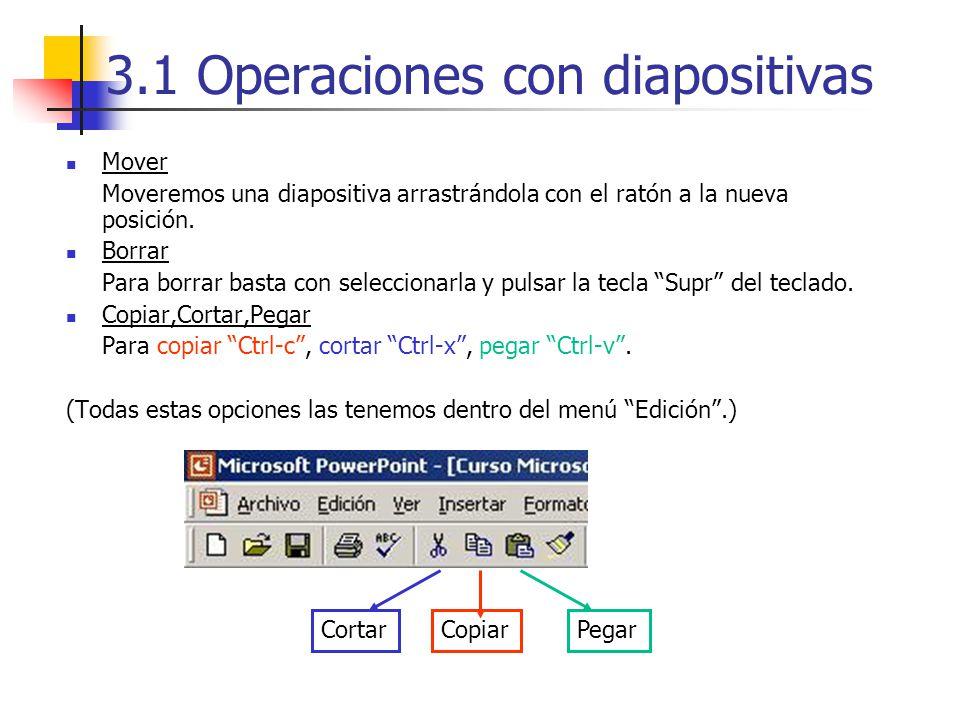 3.1 Operaciones con diapositivas