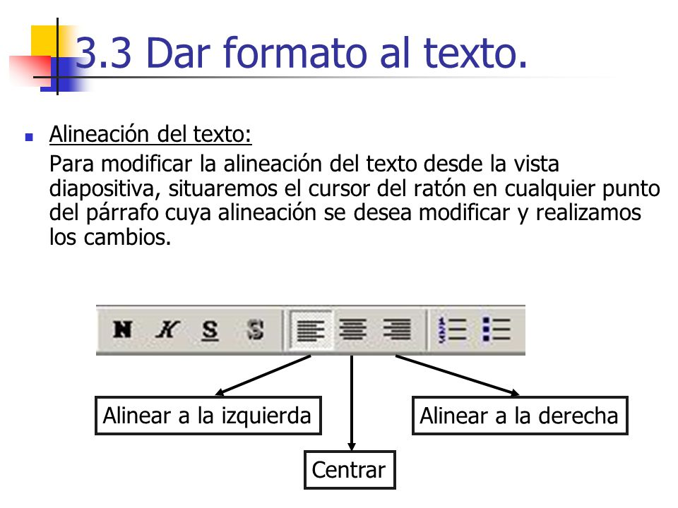 3.3 Dar formato al texto. Alineación del texto: