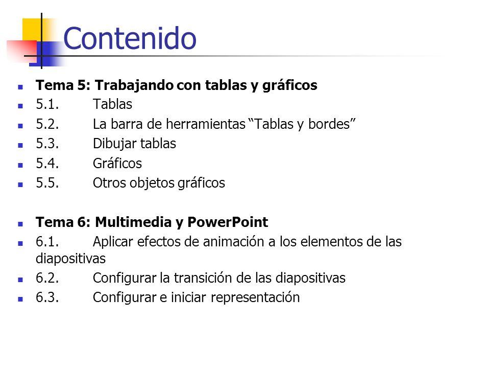 Contenido Tema 5: Trabajando con tablas y gráficos 5.1. Tablas
