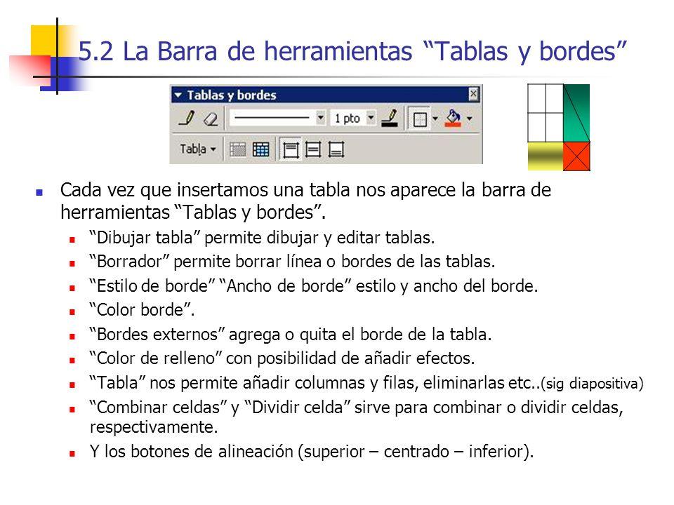 5.2 La Barra de herramientas Tablas y bordes