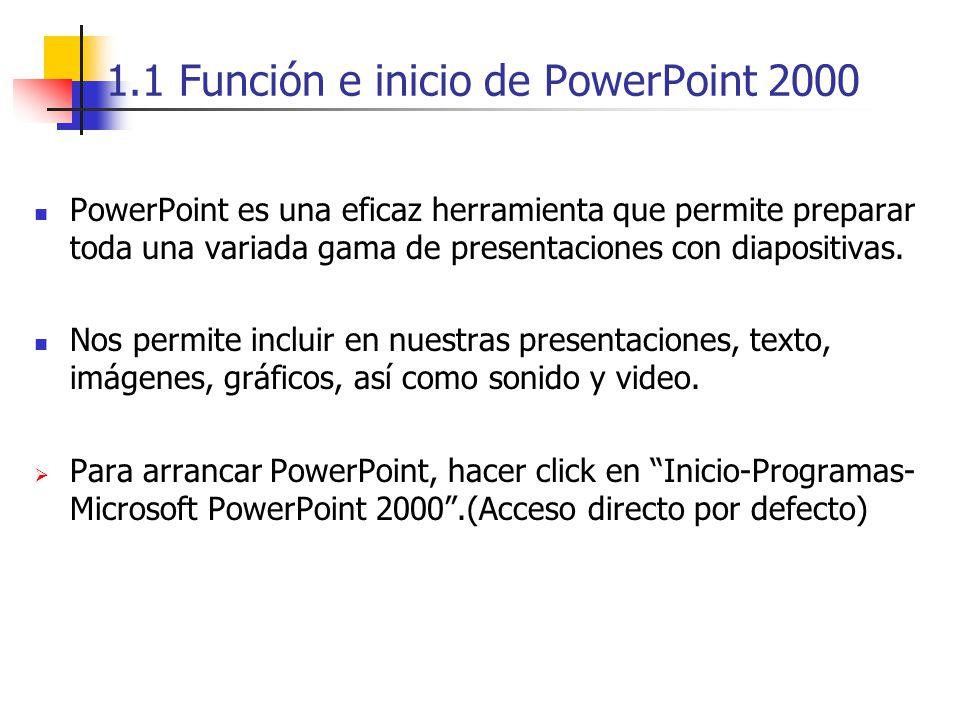 1.1 Función e inicio de PowerPoint 2000