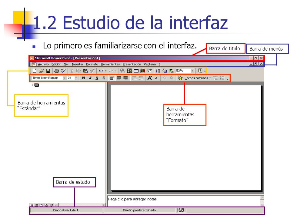 1.2 Estudio de la interfaz Lo primero es familiarizarse con el interfaz. Barra de menús. Barra de titulo.