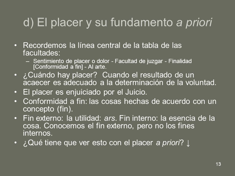 d) El placer y su fundamento a priori