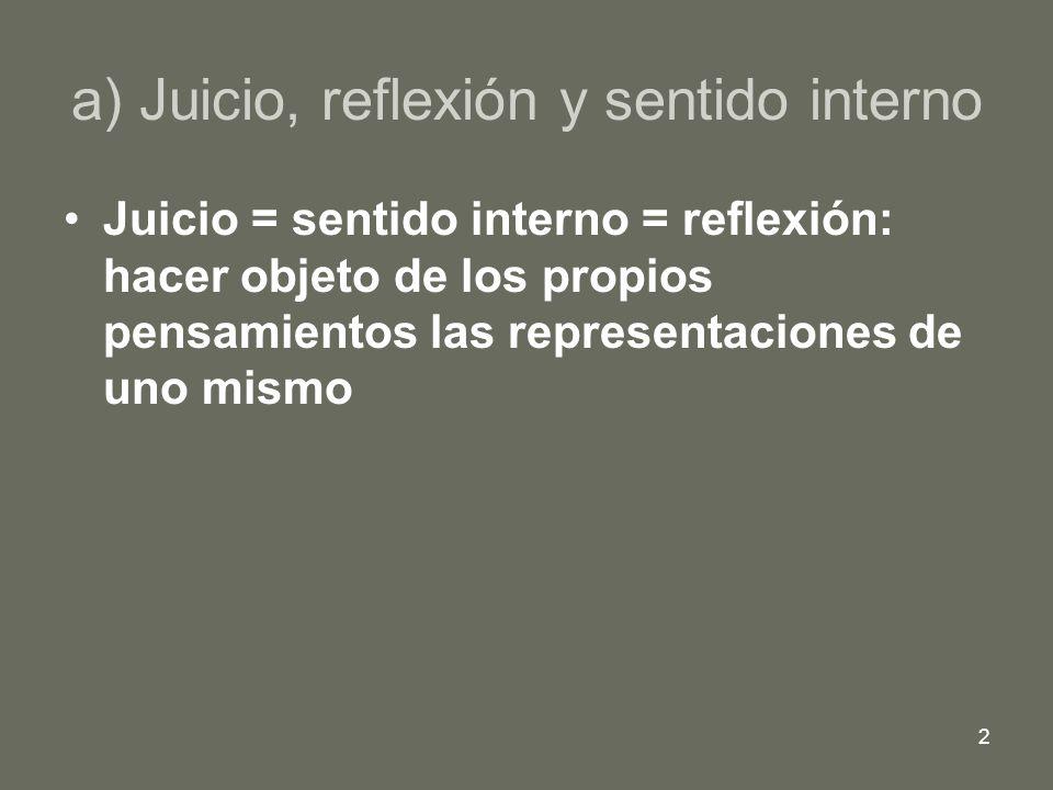 a) Juicio, reflexión y sentido interno