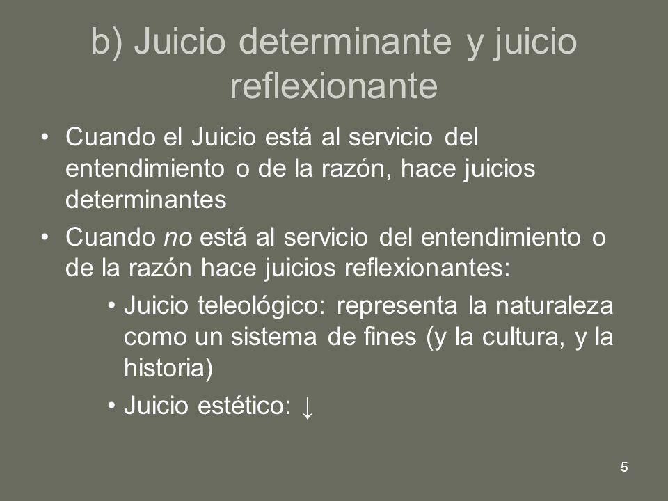 b) Juicio determinante y juicio reflexionante