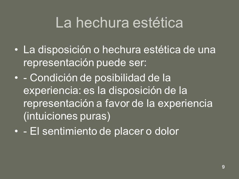 La hechura estética La disposición o hechura estética de una representación puede ser: