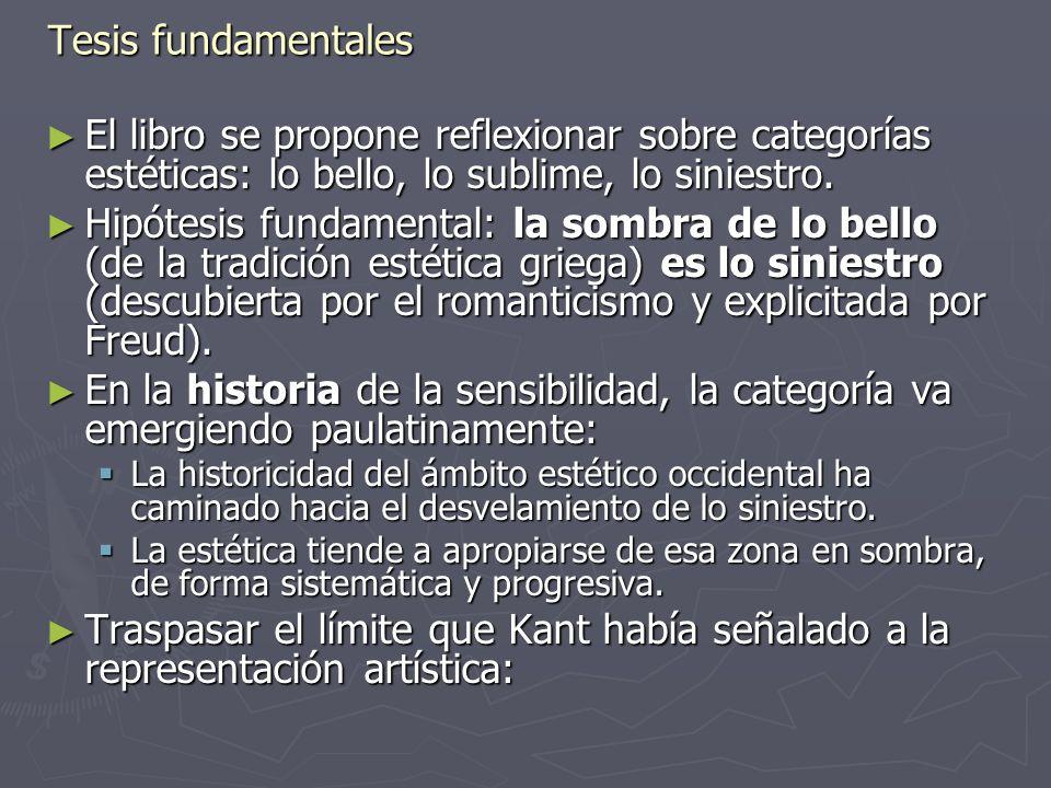 Tesis fundamentales El libro se propone reflexionar sobre categorías estéticas: lo bello, lo sublime, lo siniestro.