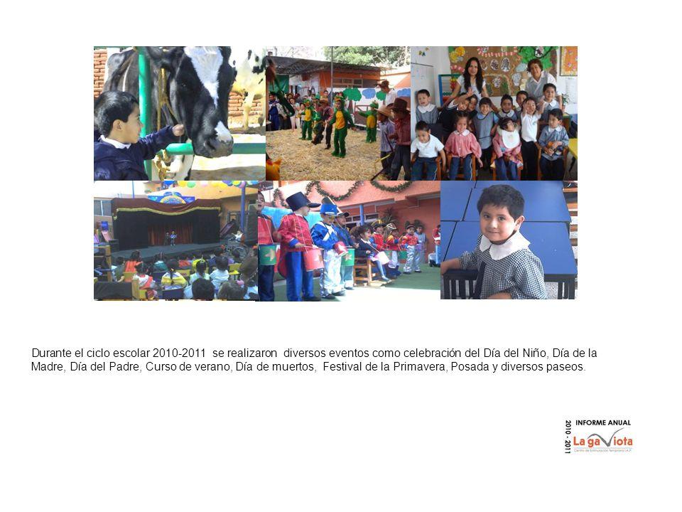 Durante el ciclo escolar 2010-2011 se realizaron diversos eventos como celebración del Día del Niño, Día de la Madre, Día del Padre, Curso de verano, Día de muertos, Festival de la Primavera, Posada y diversos paseos.