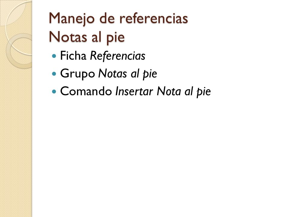 Manejo de referencias Notas al pie