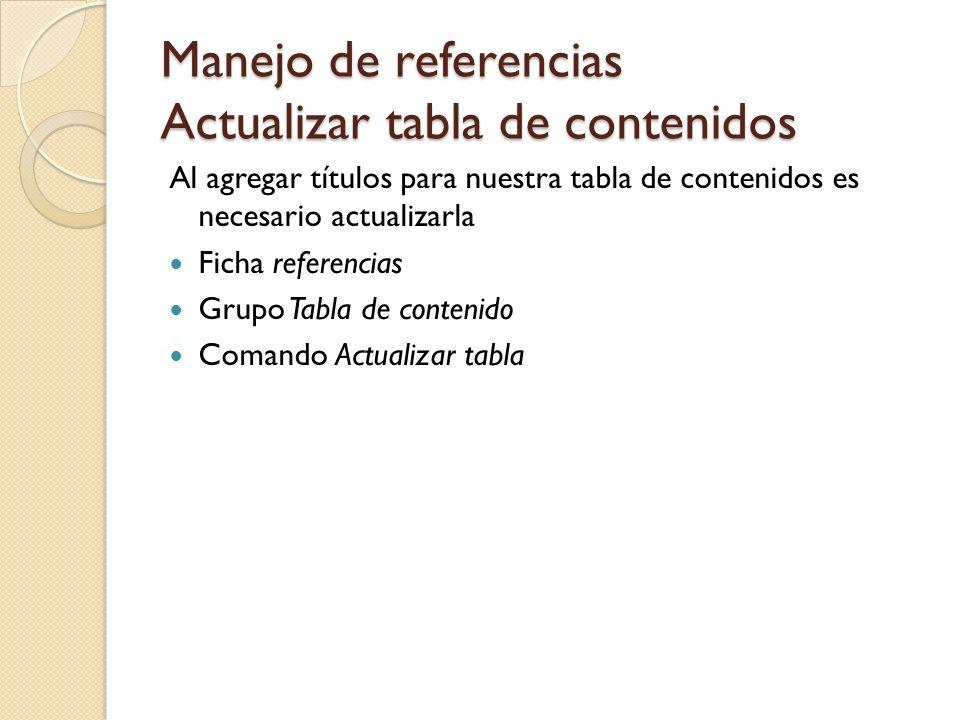 Manejo de referencias Actualizar tabla de contenidos