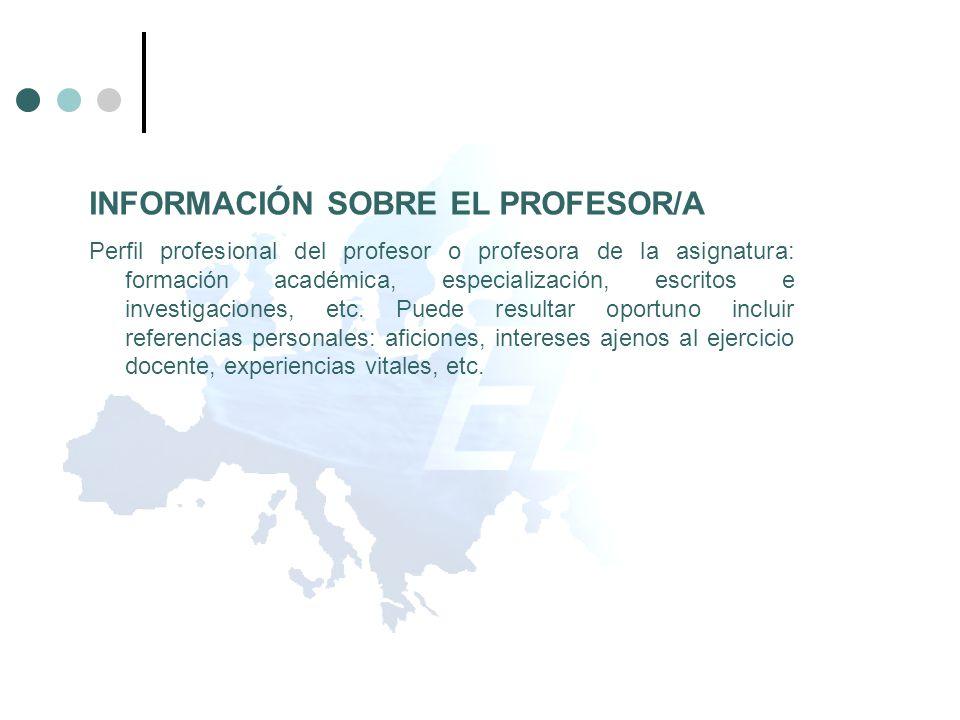 INFORMACIÓN SOBRE EL PROFESOR/A