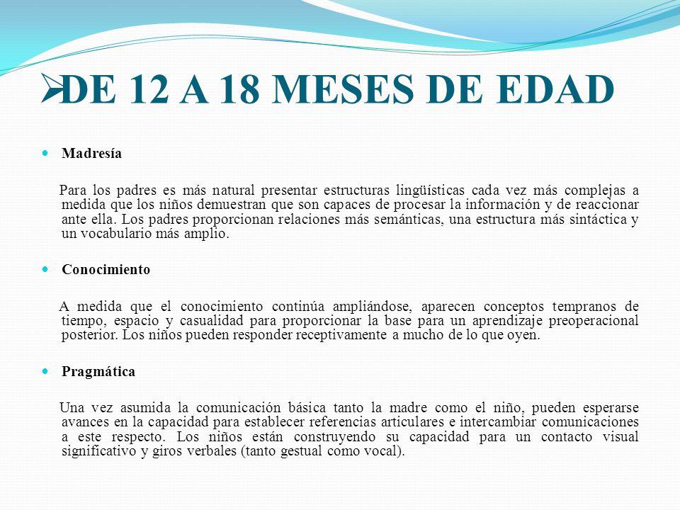 DE 12 A 18 MESES DE EDAD Madresía
