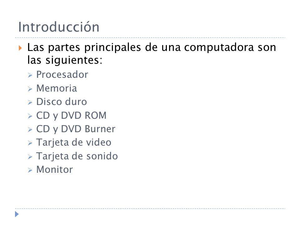 Introducción Las partes principales de una computadora son las siguientes: Procesador. Memoria. Disco duro.