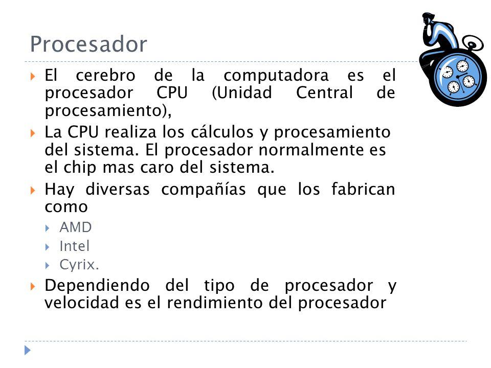 Procesador El cerebro de la computadora es el procesador CPU (Unidad Central de procesamiento),