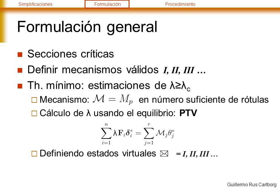 Formulación general Secciones críticas