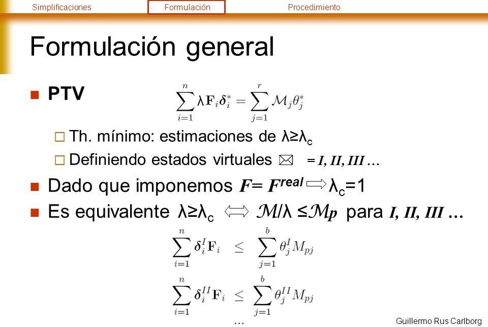 Formulación general PTV Dado que imponemos F= Freal λc=1