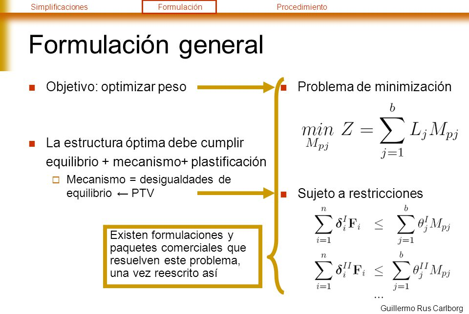 Formulación general Objetivo: optimizar peso