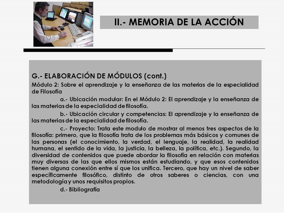 II.- MEMORIA DE LA ACCIÓN