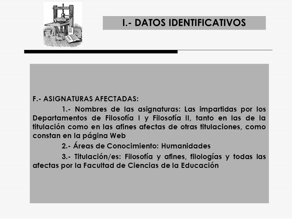 I.- DATOS IDENTIFICATIVOS