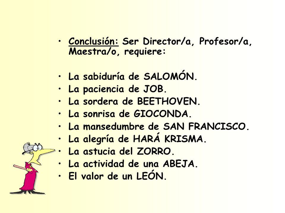 Conclusión: Ser Director/a, Profesor/a, Maestra/o, requiere: