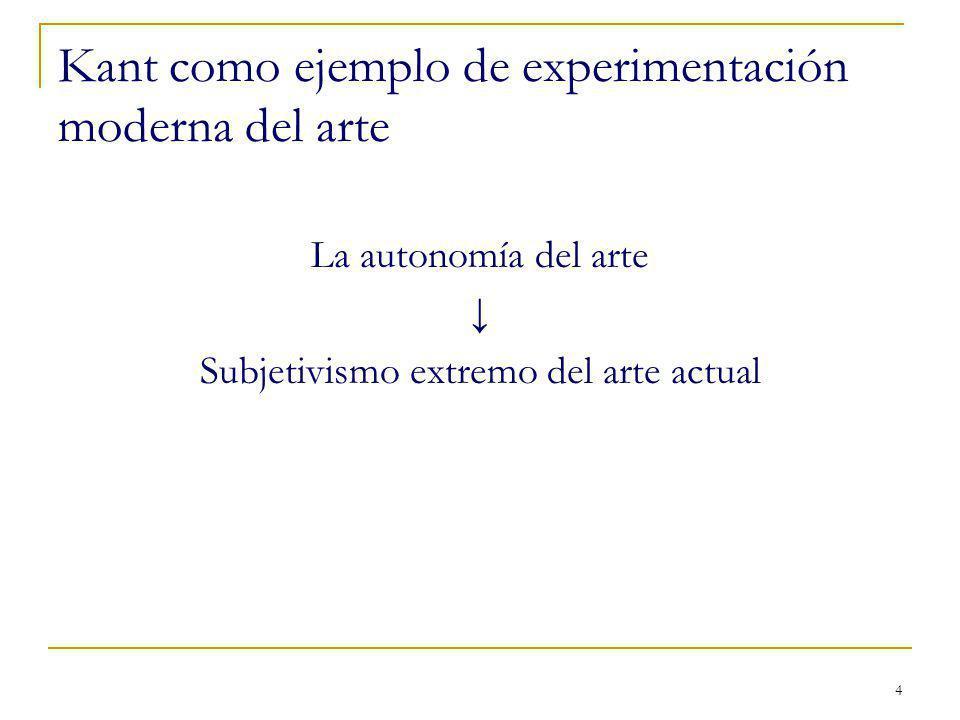 Kant como ejemplo de experimentación moderna del arte