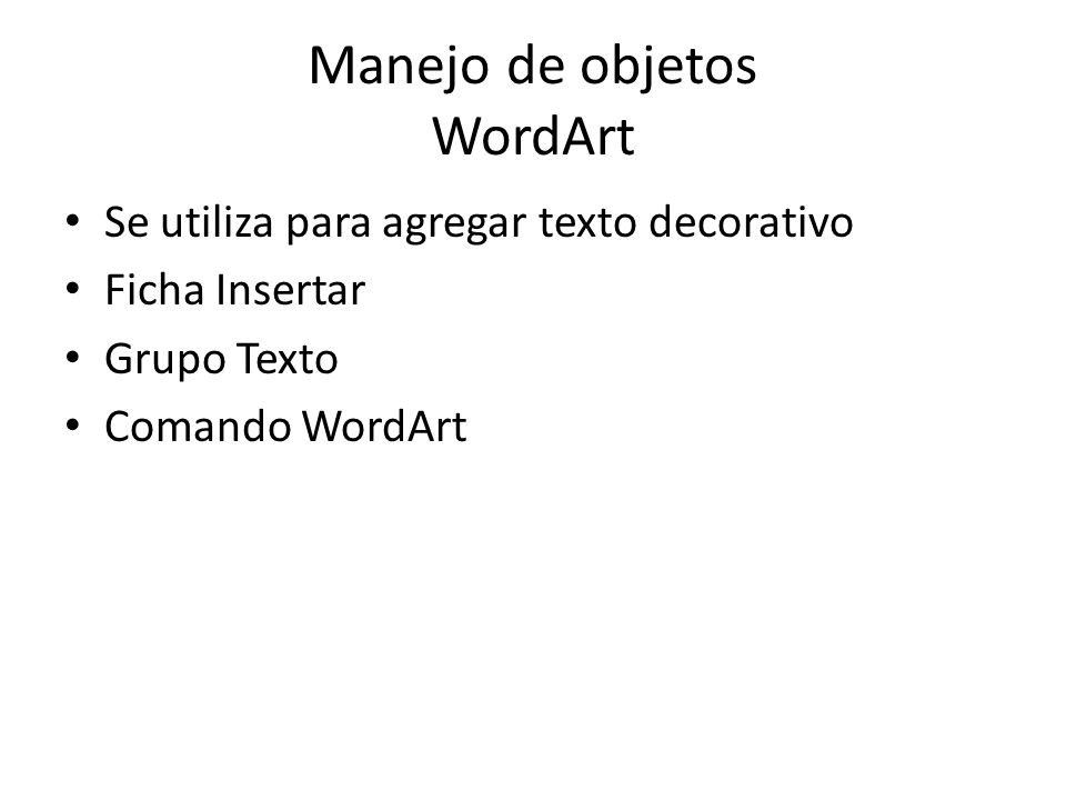 Manejo de objetos WordArt