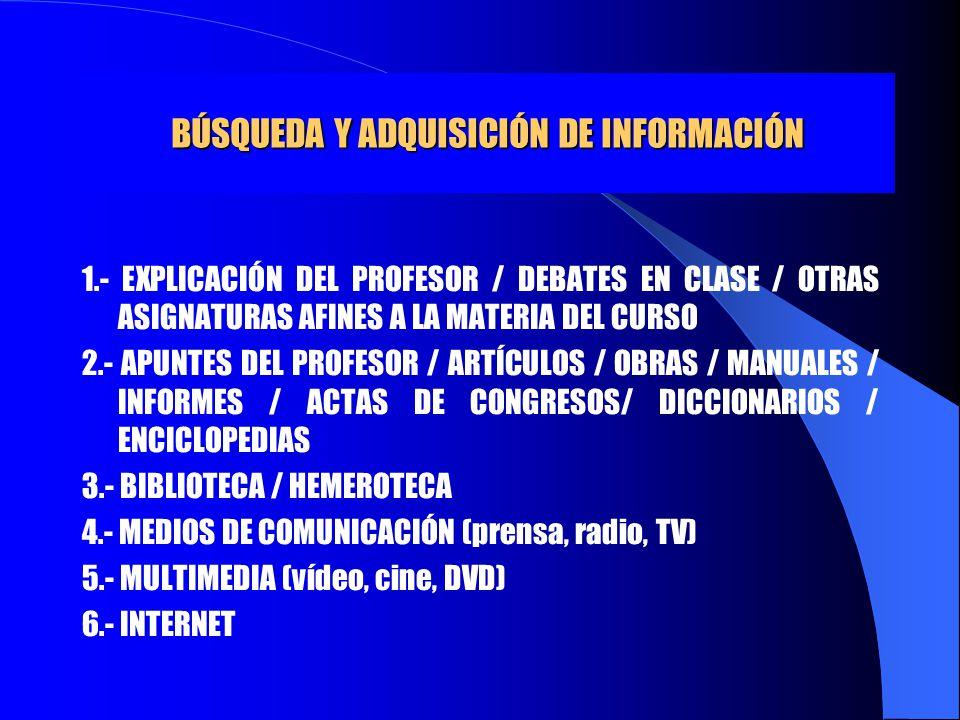 BÚSQUEDA Y ADQUISICIÓN DE INFORMACIÓN