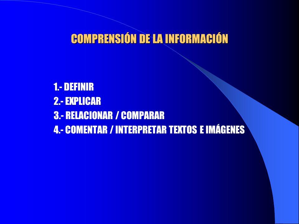 COMPRENSIÓN DE LA INFORMACIÓN