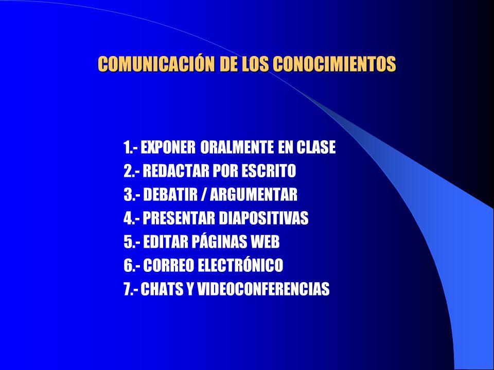 COMUNICACIÓN DE LOS CONOCIMIENTOS