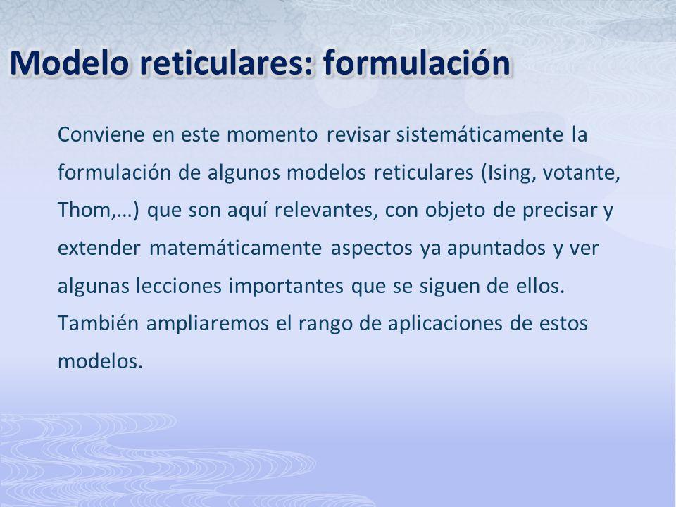 Modelo reticulares: formulación