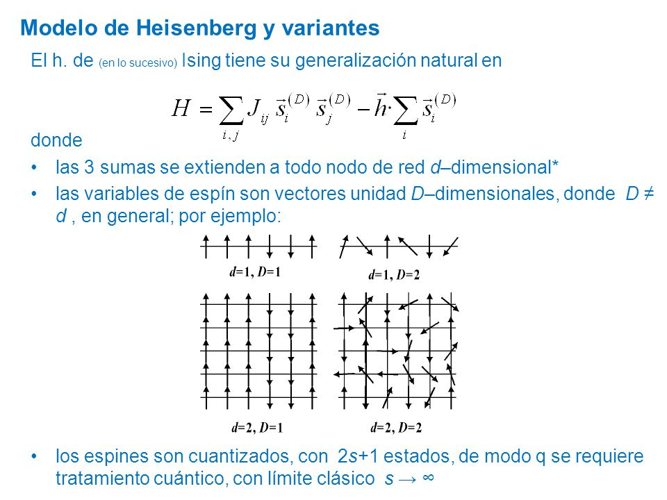 Modelo de Heisenberg y variantes